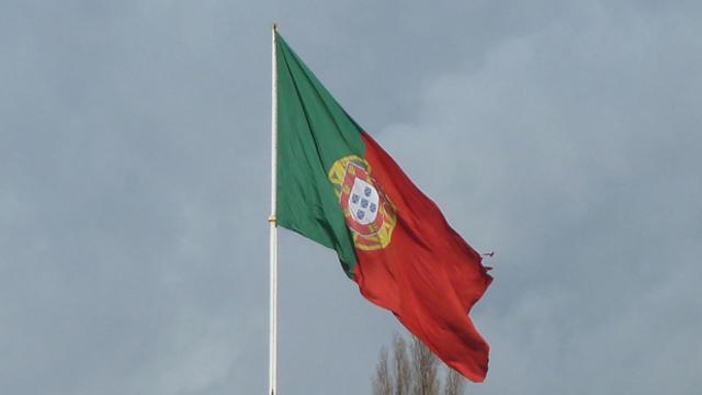Flag of Portugal waves in Lisbon