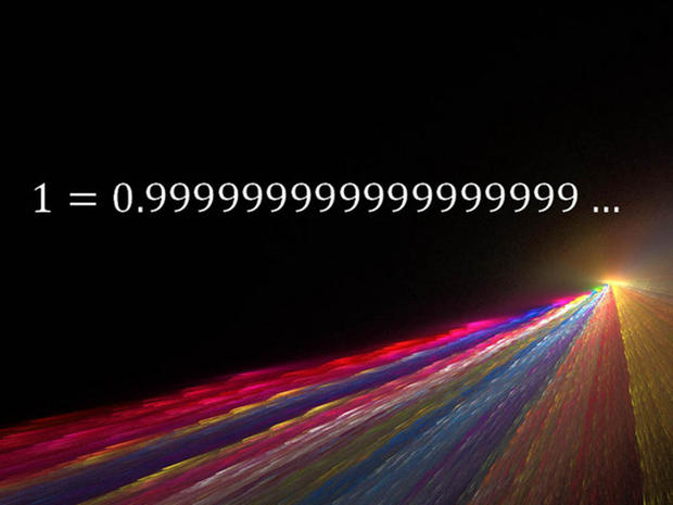 This simple equation states that the quantity 0.999, followed by an infinite string of nines, is equivalent to one.