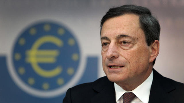 European Central Bank president Mario Draghi addresses reporters on February 7, 2013, during a press conference in Frankfurt, Germany.