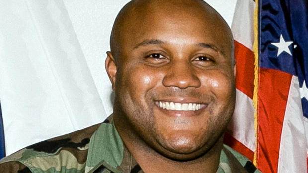 A photo released by the Los Angeles Police Department shows three images of suspect Christopher Dorner, a former Los Angeles officer. Police have launched a massive manhunt for the former Los Angeles officer suspected of killing a couple over the weekend