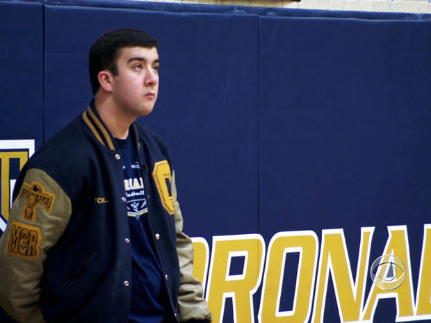 Basketball team manager Mitchell Marcus was asked to suit up for the last game of the season.
