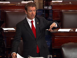 Sen. Rand Paul (R, Ken.) during what turned out to be almost 13-hour filibuster that ended at 12:39 a.m. EST March 7, 2013 against President Obama's nomination of John Brennan to head the CIA over White House policy on the use of drones.