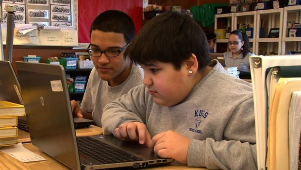 Children at work at Kuss Middle School in Fall River, Mass.