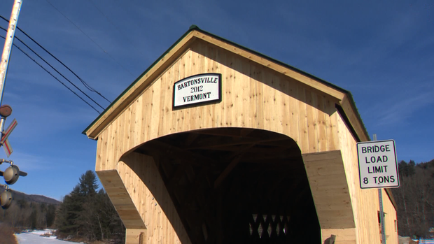 The newly constructed covered bridge in Bartonsville, Vt.