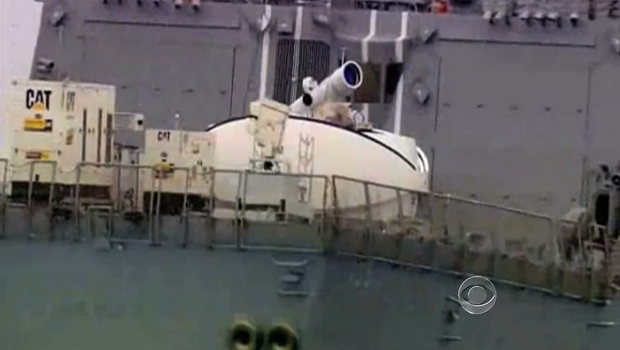 A laser weapon on a U.S. Navy ship