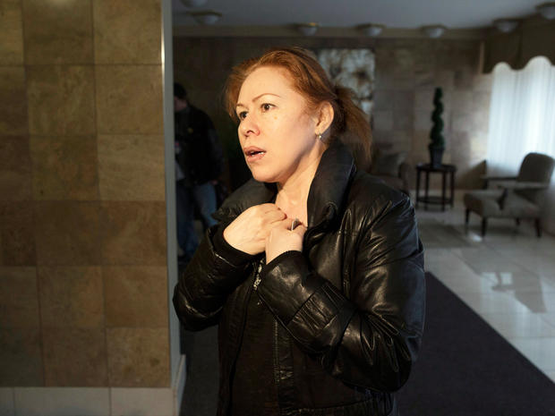 Maret Tsarnaeva, an aunt of the two suspects in the Boston Marathon bombing, speaks to journalists in the lobby of her apartment building in Toronto on Friday April 19, 2013. Tamerlan Tsarnaev, a 26-year-old who had been known to the FBI as Suspect No. 1 and was seen in surveillance footage in a black baseball cap, was killed overnight, officials said. His brother, a 19-year-old college student who was dubbed Suspect No. 2 and was seen wearing a white, backward baseball cap in the images from Monday's deadly bombing at the marathon finish line, escaped.