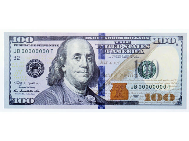 The new design of the $100 bill is shown after it was unveiled at the Treasury Department in Washington, on April 21, 2010.