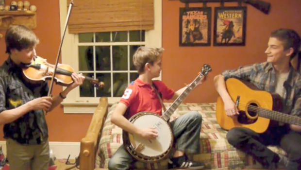 young brothers rock hard on banjo guitar and fiddle cbs news. Black Bedroom Furniture Sets. Home Design Ideas