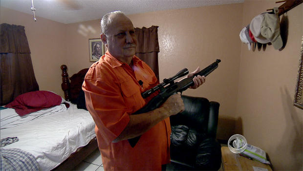 Juan Mercado lives on a border property in McAllen, Texas. He says he owns a gun for protection because undocumented immigrants sneak across his property all the time.