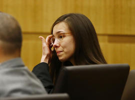Jodi Arias reacts after she was found of guilty of first degree murder in the gruesome killing her one-time boyfriend, Travis Alexander