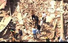Aerials of building collapse in Philadelphia