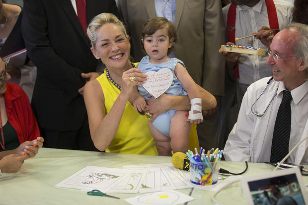 Sharon Stone visits Jerusalem children's hospital