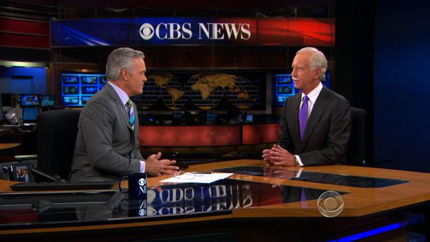 """CBS Evening News"" anchor Scott Pelley interviews Capt. Chesley ""Sully"" Sullenberg on July 8, 2013."