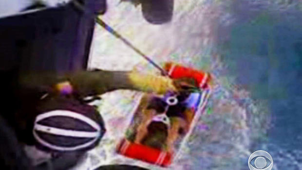 John Aldridge was hoisted to safety after 12 hours lost at sea.