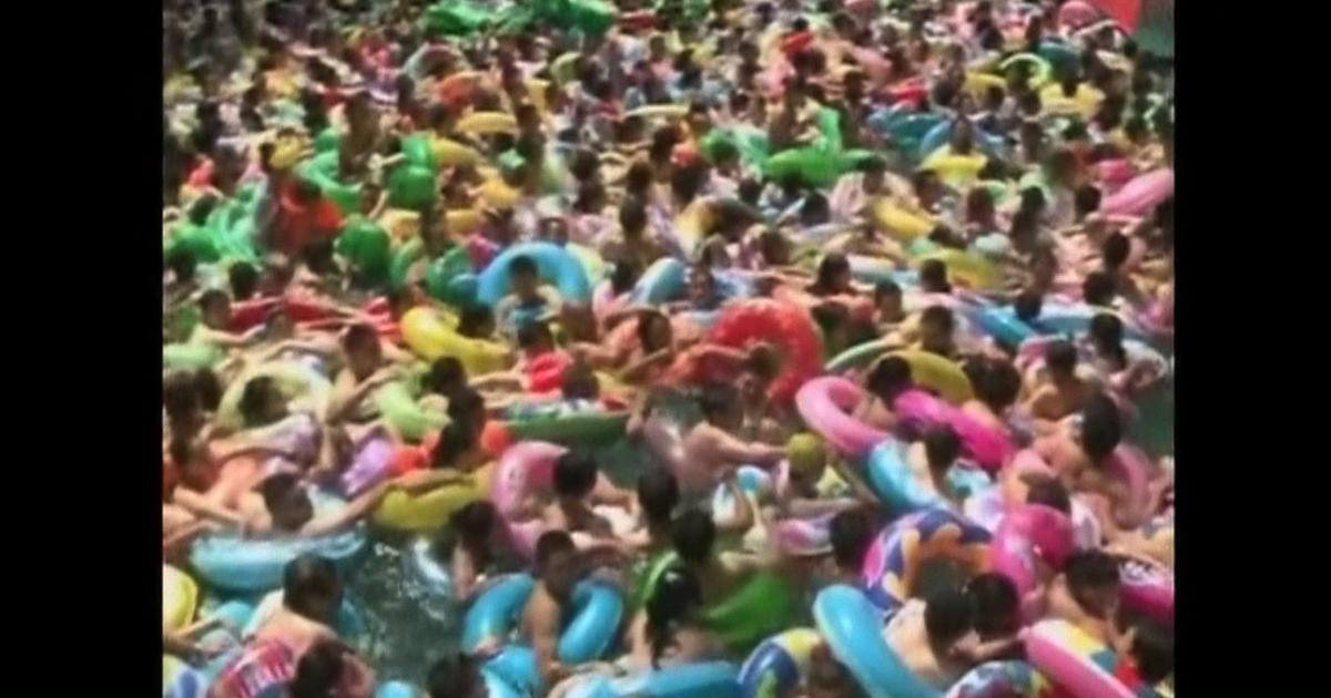 heat wave in china brings 15 000 to pool cbs news wave logo design wave logotype