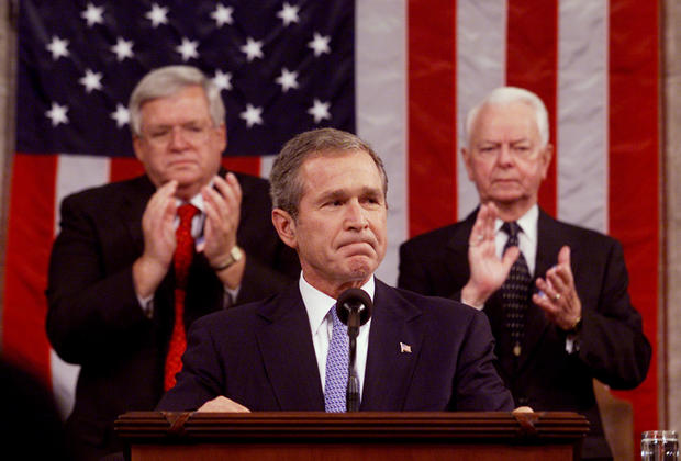 President George W. Bush receives a standing ovation from the joint session of congress