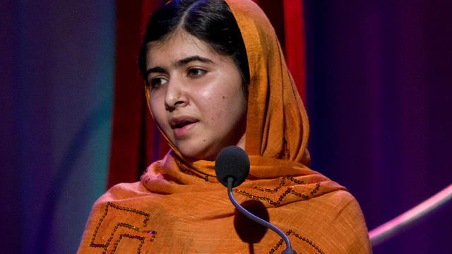 Malala Yousafzai, the Pakistani teenager shot by the Taliban for promoting education for girls, speaks after receiving the Leadership in Civil Society award at the Clinton Global Initiative's Citizen Awards Dinner, Wednesday, Sept. 25, 2013, in New York.