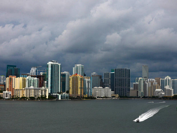 Downtown Miami is engulfed in storm clouds as Tropical Storm Karen heads toward Florida's Panhandle Oct. 3, 2013.