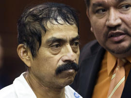 """Conrado Juarez, 52, is arraigned Saturday, Oct. 12, 2013, at Manhattan Criminal Court for the alleged murder of 4-year-old Anjelica Castillo, nicknamed """"Baby Hope"""", in New York."""