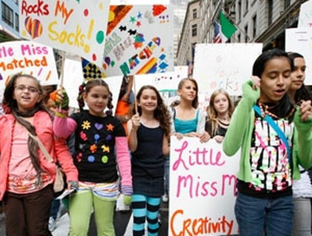 LittleMissMatched fans parade down New York's Fifth Avenue.
