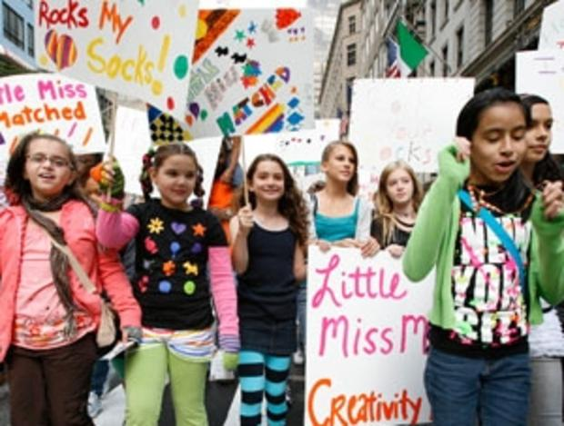 LittleMissMatched fans parade down New York's Fifth Avenue.