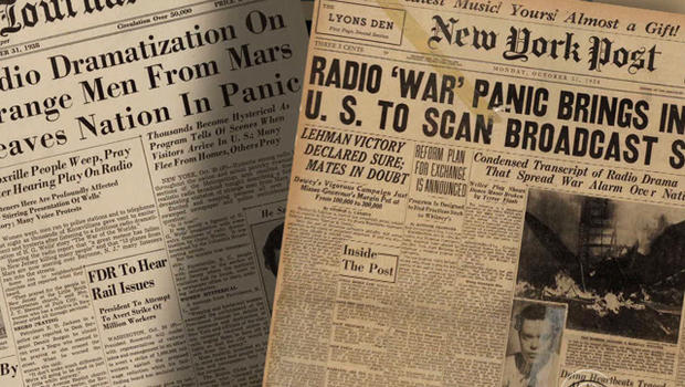 """Newspapers were filled with stories of the chaos that followed the """"War of the Worlds"""" broadcast."""