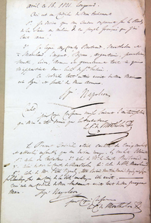 A copy of Napoleon's will is displayed at an auction house in Paris