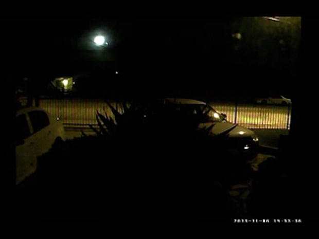 Meteor seen as fireball in night sky can be seen in upper-left of image taken from video captured by security cameras of home in Sylmar, in Southern California, on Nov. 6, 2013. Scientists say the meteor is part of a Taurid meteor shower that will peak in about 10 days.