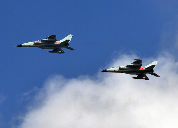 Chinese People's Liberation Army (PLA) fighter jets leaving their base in Shanghai
