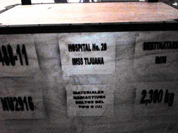 A box containing a decommissioned and safely encased cobalt-60 medical teletherapy unit is seen prior to it being loaded onto a truck for transport to a radioactive waste facility in Mexico.