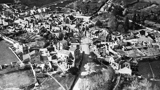 An aerial view of the destroyed Oradour-sur-Glane, France, is seen Jan. 1, 1953. In total, 642 men, women and children were killed in reprisal for the French Resistance's kidnapping of a German soldier.