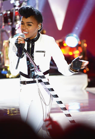 Janelle Monáe in black and white
