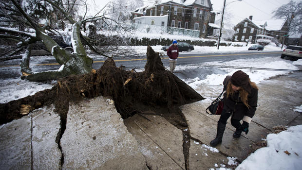 A woman ducks under a utility line next to an ice-covered downed tree that landed atop a minivan after a winter storm Feb. 5, 2014, in Philadelphia.