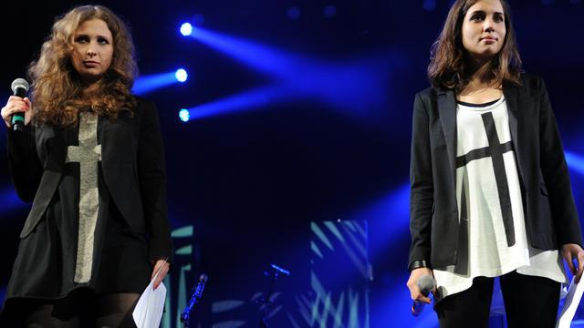 Maria Alyokhina, left, and Nadezhda Tolokonnikova of Russian punk protest group Pussy Riot