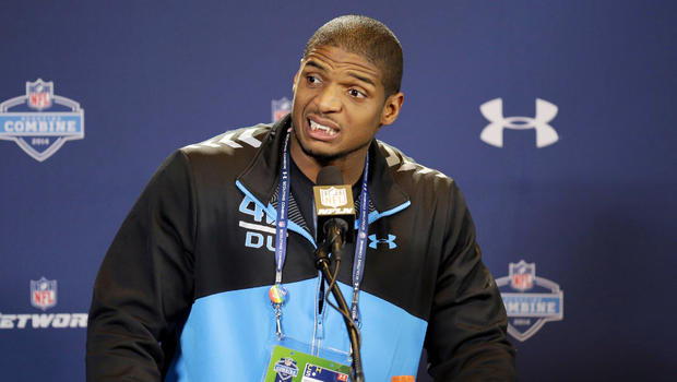 Former Missouri defensive end Michael Sam speaks during a news conference at the NFL football scouting combine in Indianapolis Feb. 22, 2014. Sam came out to the entire country Feb. 9, 2014, and could become the first openly gay player in the NFL.