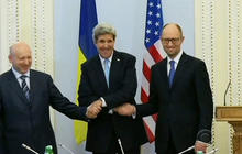 Kerry pledges Ukraine aid package, issues message to Putin