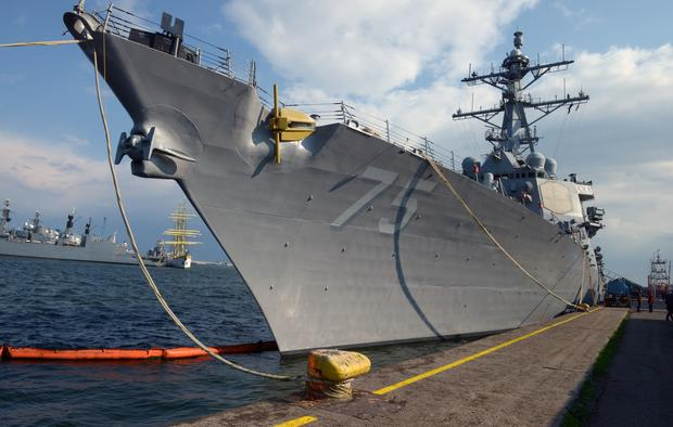 The USS Destroyer Donald Cook is seen at the Constanta shipyard in the Romanian Black Sea port of Constanta