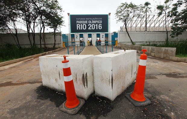 Cones and barricades sit at the entrance to Olympic Park, the primary set of venues being built for the Rio 2016 Olympic Games