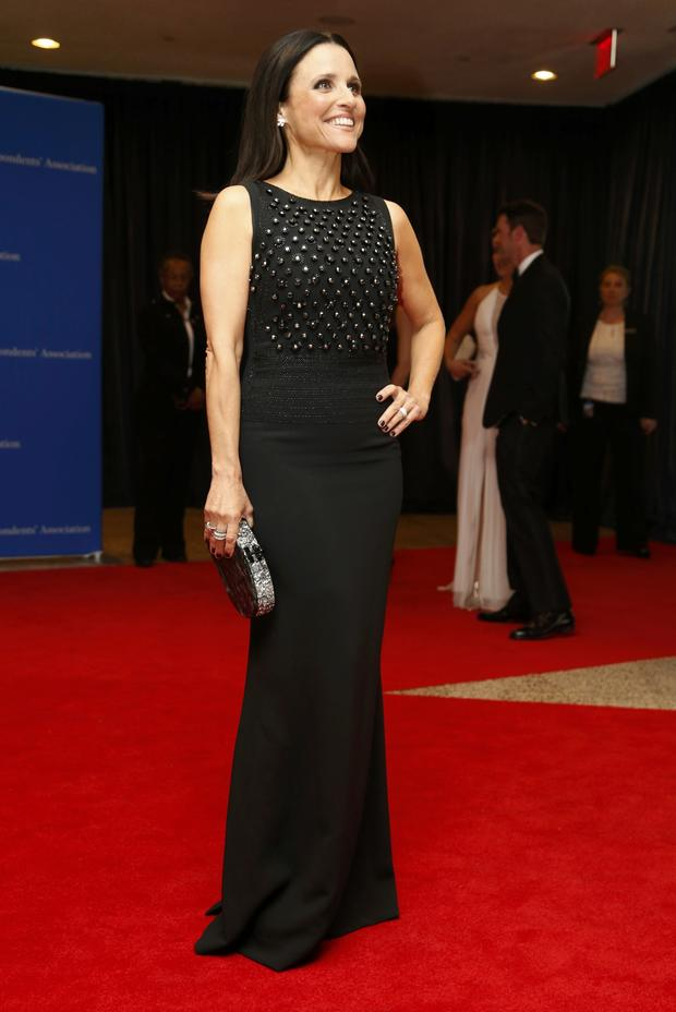 Actress Julia Louis-Dreyfus arrives on the red carpet at the annual White House Correspondents' Association dinner in Washington May 3, 2014.