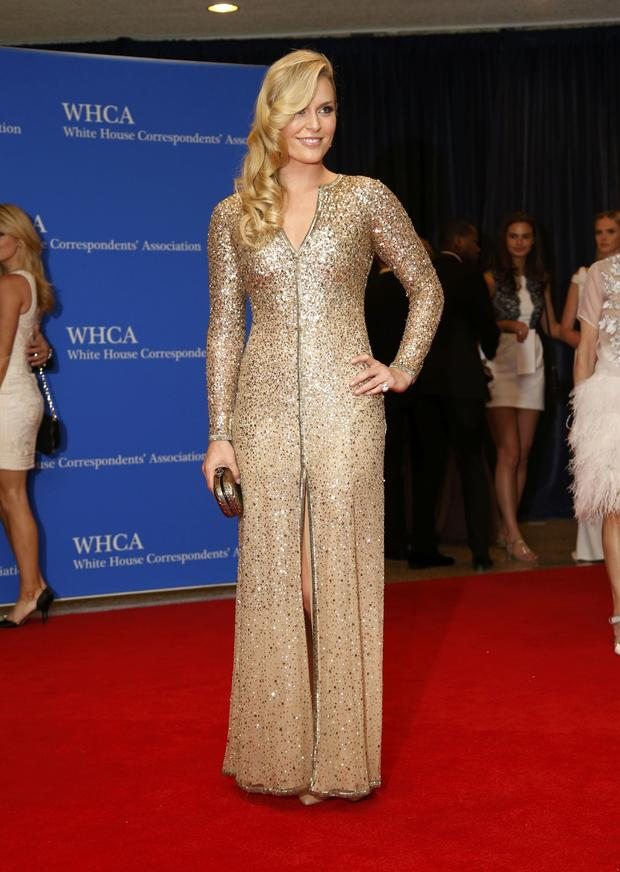 Olympic skier Lindsey Vonn arrives on the red carpet at the annual White House Correspondents' Association dinner in Washington May 3, 2014.