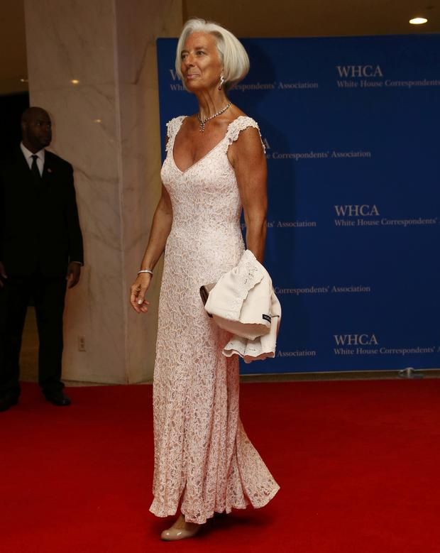 Christine Lagarde, managing director of the International Monetary Fund, arrives on the red carpet at the annual White House Correspondents' Association dinner in Washington May 3, 2014.