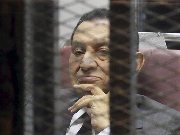 Egypt's ousted President Hosni Mubarak inside a dock