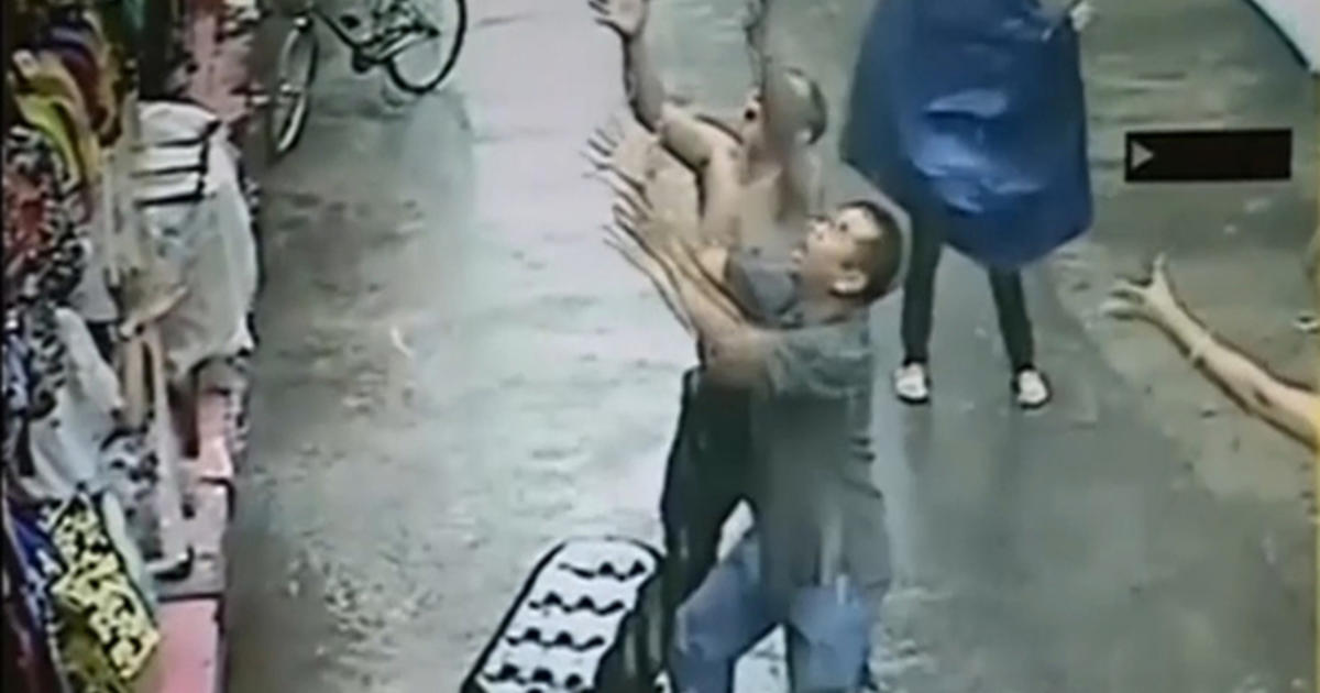 Man Catches Falling Baby Cbs News