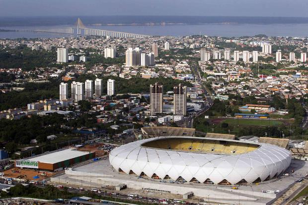 The Arena Amazonia soccer stadium is seen in this aerial view taken two days before its scheduled inauguration in Manaus