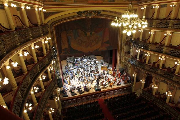 An orchestra practises at the Amazonas Theatre in Manaus