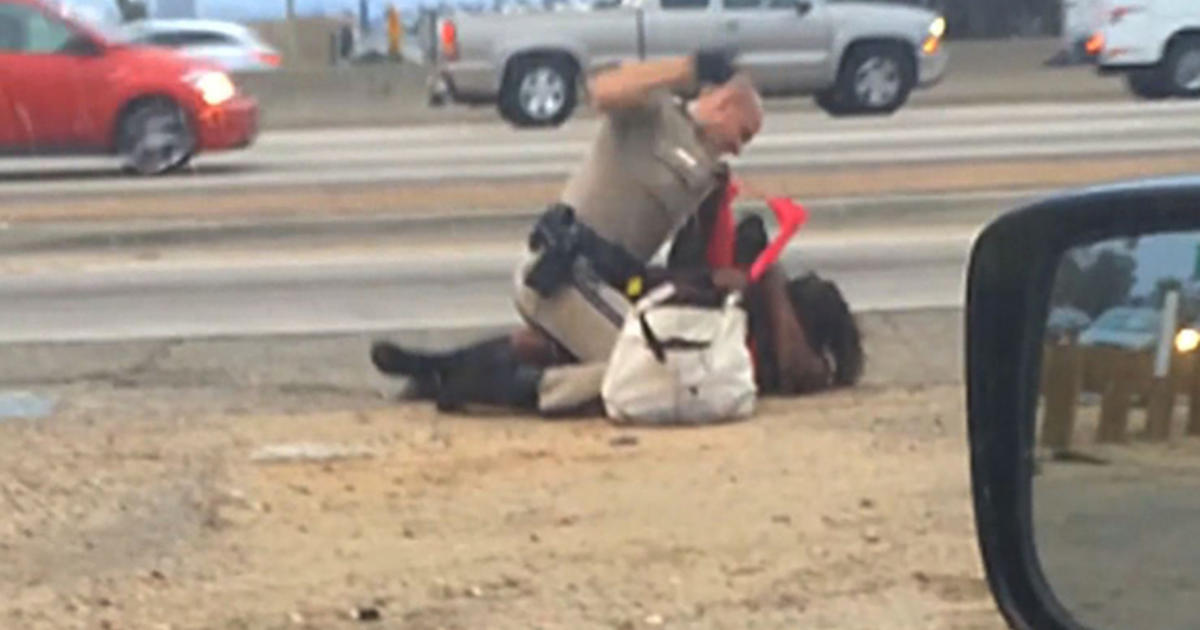 California Cop Beats Woman Repeatedly On The Freeway Cbs