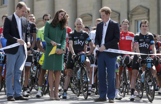 British royals at start of Tour de France, in Leeds, England