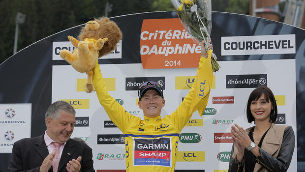 Garmin's Andrew Talansky, of USA, celebrates after winning the 66th Dauphine cycling race