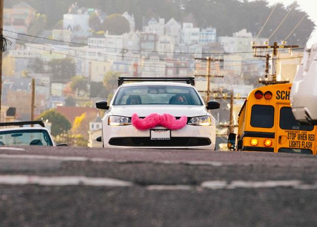 A Lyft car in action