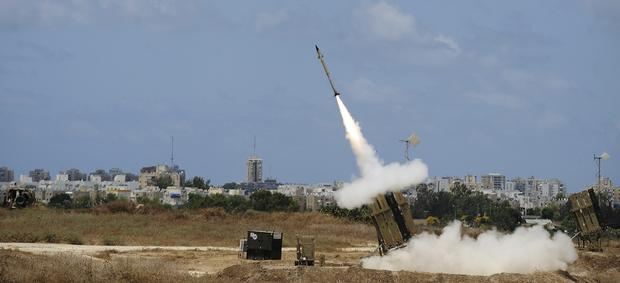 """A missile is launched by an """"Iron Dome"""" battery"""